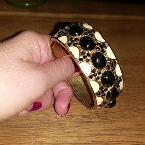 Banana Republic Black and Gold Enamel Bracelet